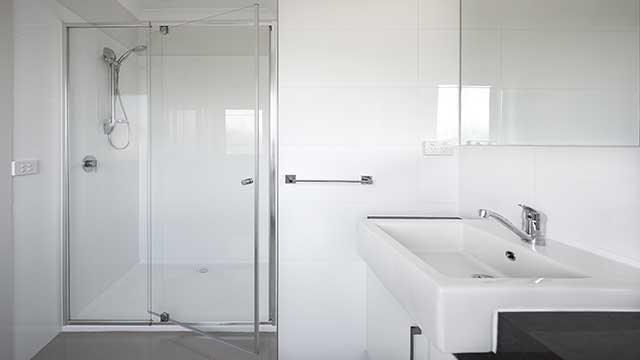 STREAM™ - Front Only 1/4 Frameless Shower Screen - Door Open - Armstrong Creek - Supplied & Installed by - geelongsplashbacks.com.au