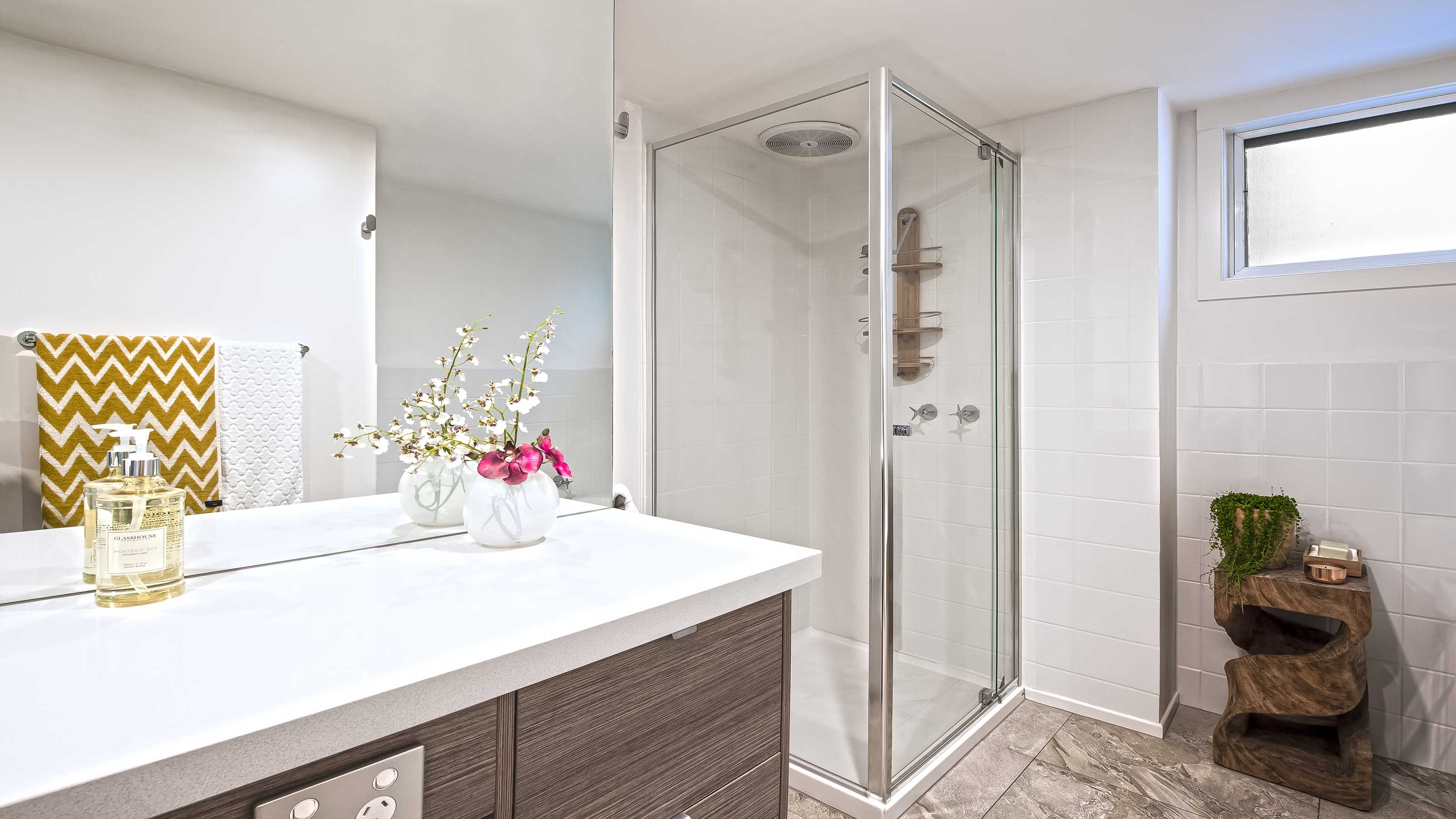 STREAM™ - 1/4 Frameless Shower Screen - Pivoting Door - Torquay - Supplied & Installed by - geelongsplashbacks.com.au