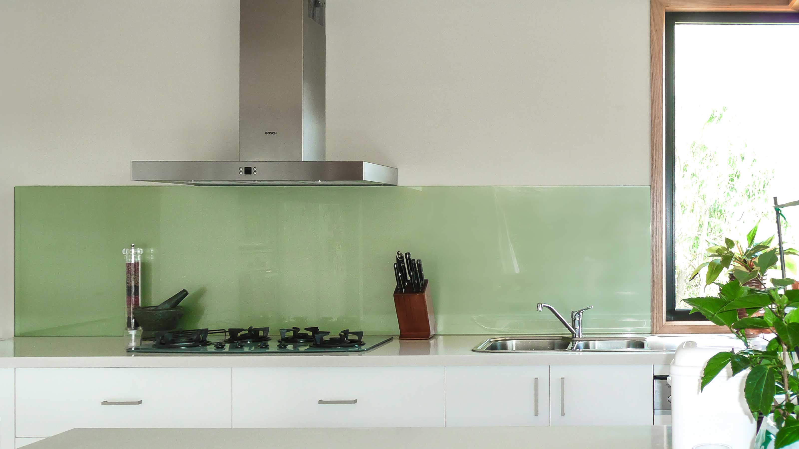 KOLOR™; -  Green Metallic - Kitchen Glass Splashbacks - Stone Benchtop - Lorne - Supplied & Installed by - geelongsplashbacks.com.au