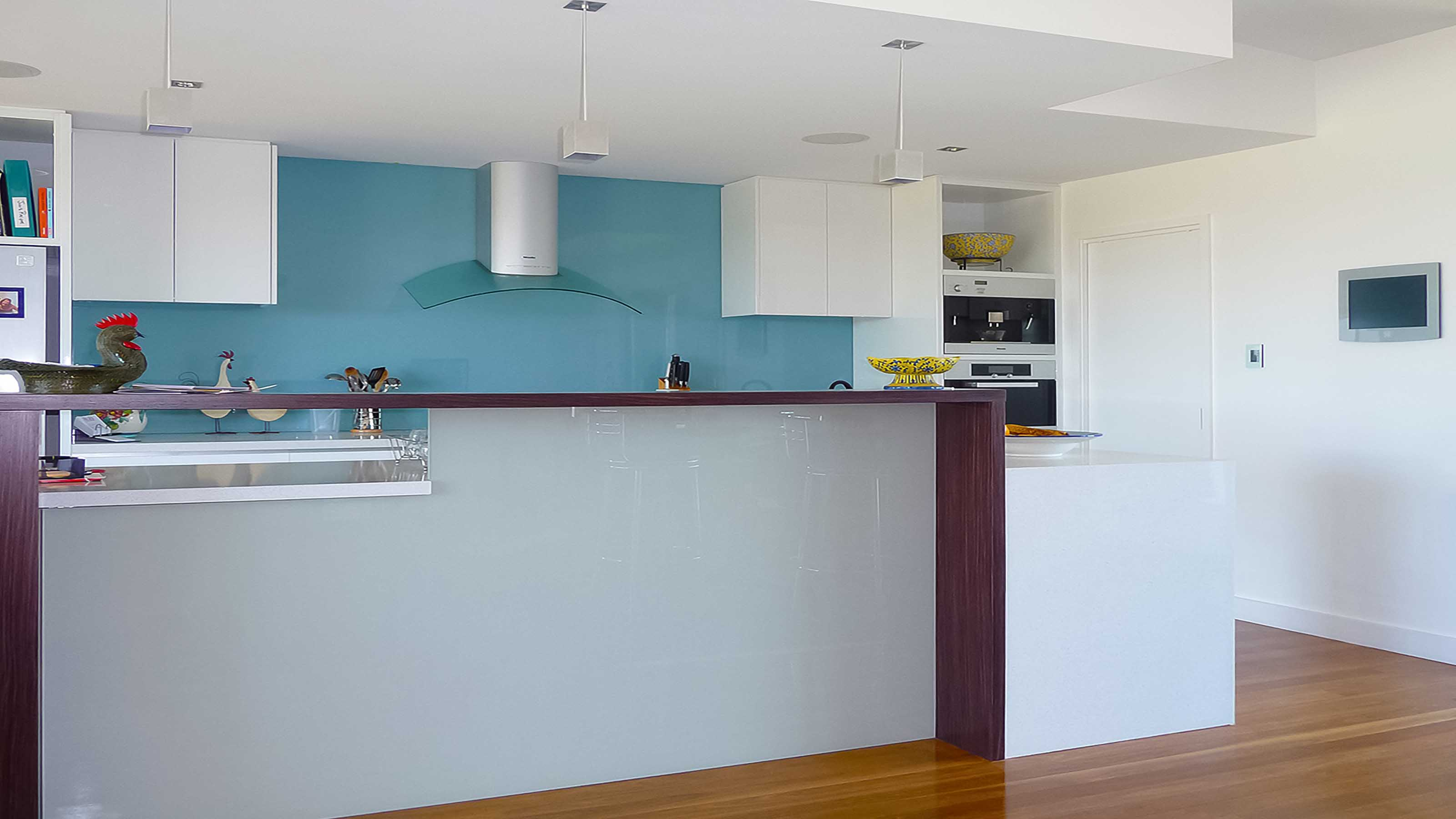 KOLOR™ - KITCHEN GLASS SPLASHBACKS - BLUE & LIGHT GREY - Supplied & Installed by - geelongsplashbacks.com.au