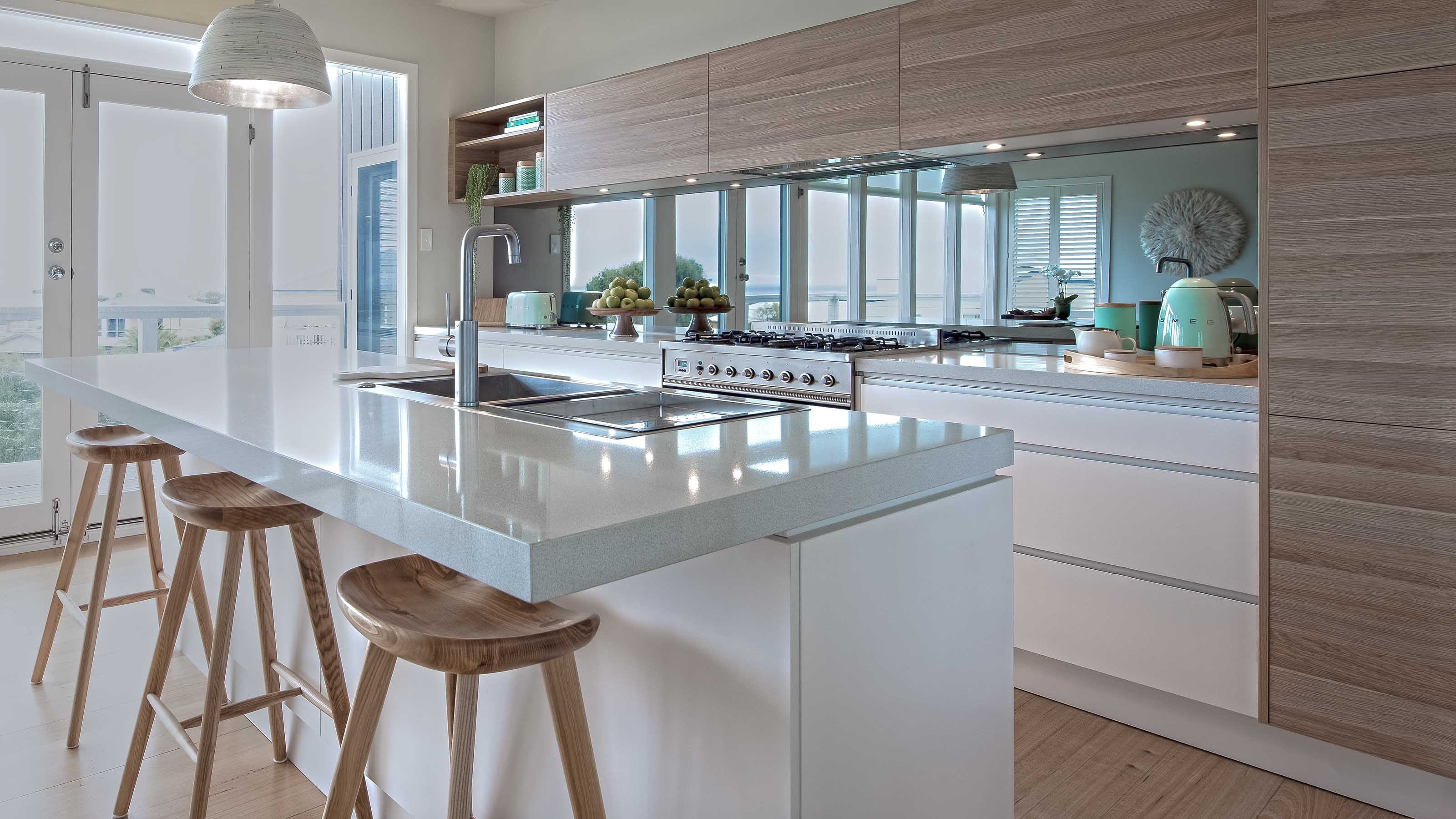 mirraGLO FUSHION™ - Mirror Kitchen Glass Splashback - Torquay - Supplied & Installed by - geelongsplashbacks.com.au